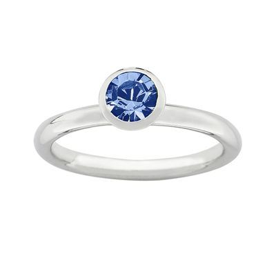 "Personally Stackable ""September"" Blue Crystal Sterling Silver High Profile Ring"