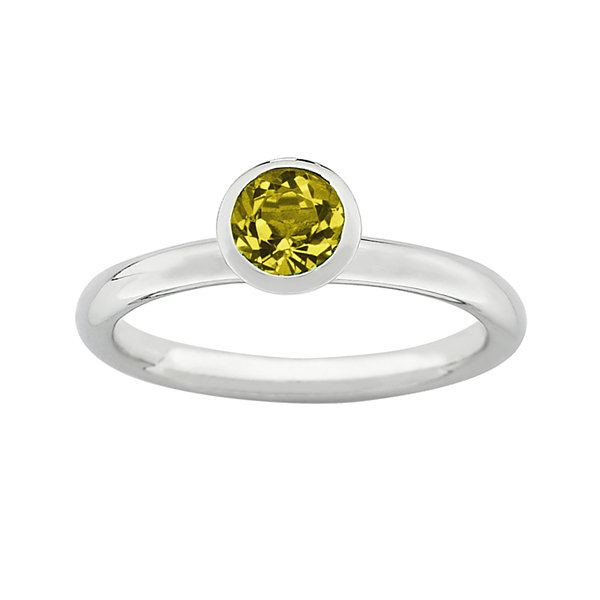 "Personally Stackable ""November"" Yellow Crystal Sterling Silver High Profile Ring"