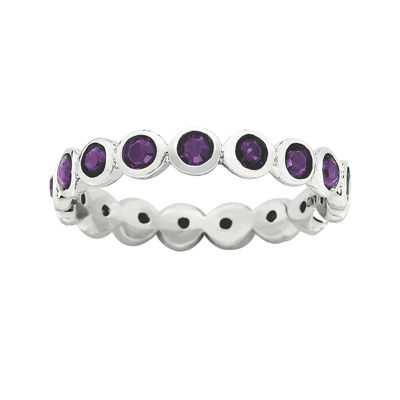 "Personally Stackable ""February"" Purple Crystal Sterling Silver Eternity Ring"