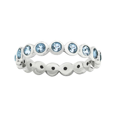 """Personally Stackable """"March"""" Blue Crystal Sterling Silver Eternity Ring"""