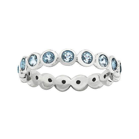 "Personally Stackable ""March"" Blue Crystal Sterling Silver Eternity Ring"