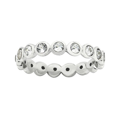 "Personally Stackable ""April"" Crystal Sterling Silver Eternity Ring"