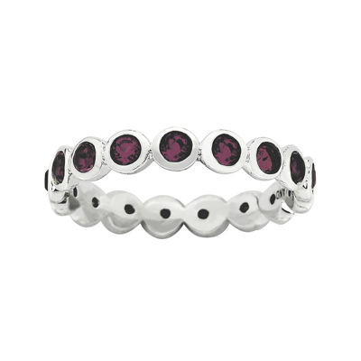 "Personally Stackable ""June"" Red Crystal Sterling Silver Eternity Ring"