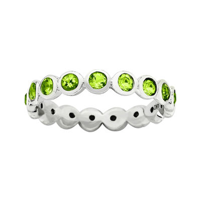 "Personally Stackable ""August"" Green Crystal Sterling Silver Eternity Ring"
