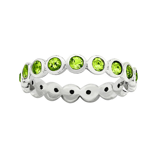 """Personally Stackable """"August"""" Green Crystal Sterling Silver Eternity Ring"""