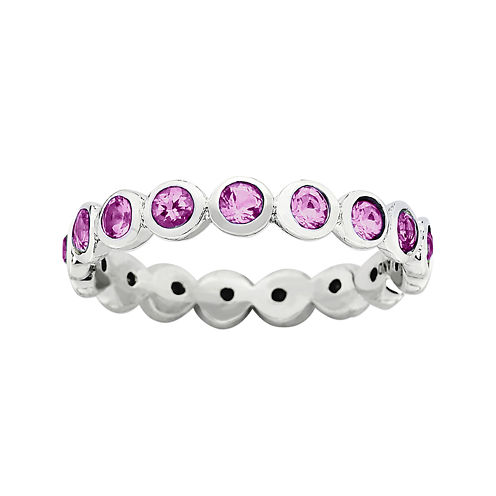 """Personally Stackable """"October"""" Pink Crystal Sterling Silver Eternity Ring"""