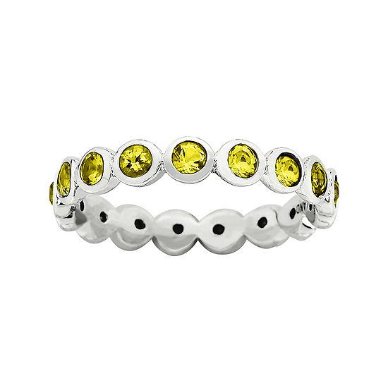 "Personally Stackable ""November"" Yellow Crystal Sterling Silver Eternity Ring"