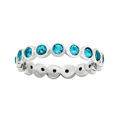 "Personally Stackable ""December"" Blue Crystal Sterling Silver Eternity Ring"