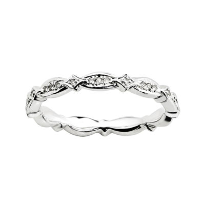 Personally Stackable 1/8 CT. T.W. Diamond Sterling Silver Fancy Eternity Ring