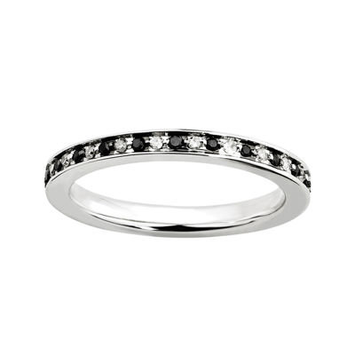 Personally Stackable ¼ CTW White & Color-Enhanced Black Diamond Eternity Ring