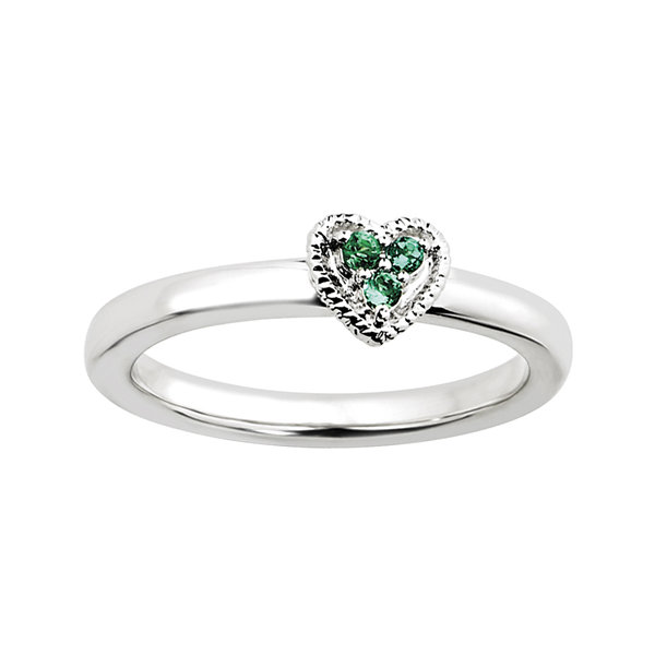 Fine Jewelry Personally Stackable Lab-Created Emerald Textured 3-Stone Ring s59c0