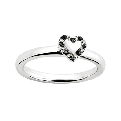 Personally Stackable White and Color-Enhanced Black Diamond-Accent Heart Ring