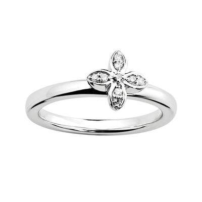 Personally Stackable Diamond-Accent Sterling Silver Flower Ring