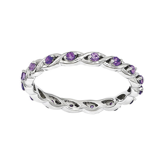 Personally Stackable Genuine Amethyst Twisted Eternity Ring