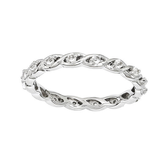 Personally Stackable Genuine White Topaz Twisted Eternity Ring