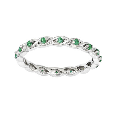 Personally Stackable Lab-Created Emerald Twisted Eternity Ring