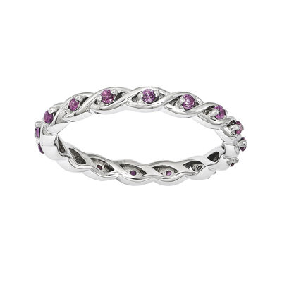 Personally Stackable Genuine Rhodolite Twisted Eternity Ring