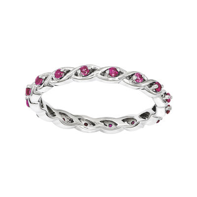Personally Stackable Lab-Created Ruby Twisted Eternity Ring