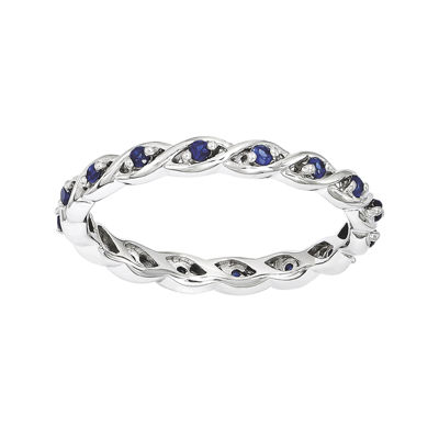 Personally Stackable Lab-Created Blue Sapphire Twisted Eternity Ring