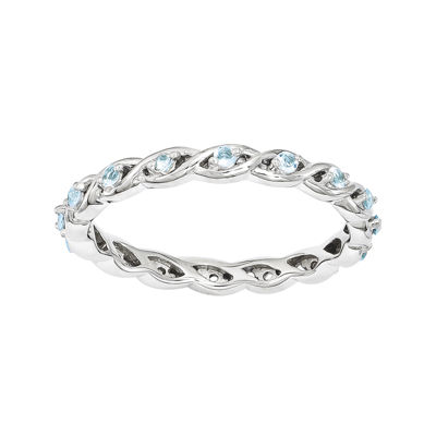 Personally Stackable Genuine Blue Topaz Twisted Eternity Ring