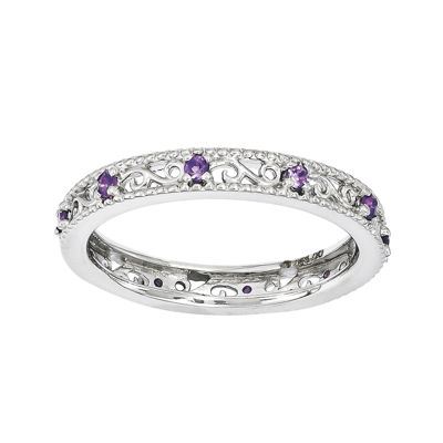 Personally Stackable Genuine Amethyst Filigree Eternity Ring