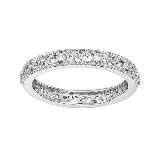 Personally Stackable Genuine Aquamarine Filigree Eternity Ring