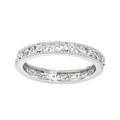 Personally Stackable Genuine White Topaz Filigree Eternity Ring