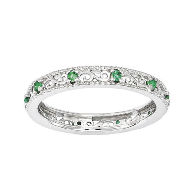 Personally Stackable Lab-Created Emerald Filigree Eternity Ring