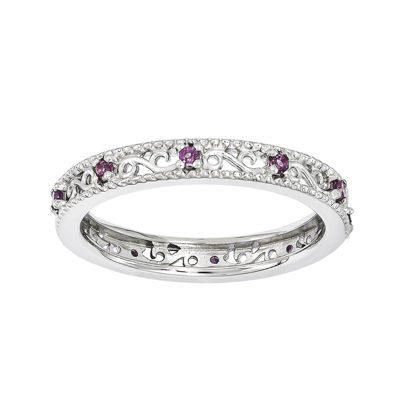 Personally Stackable Genuine Rhodolite Garnet Filigree Eternity Ring