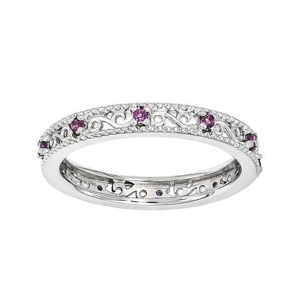 Fine Jewelry Personally Stackable Genuine Rhodolite Twisted Eternity Ring aZTWDc8o