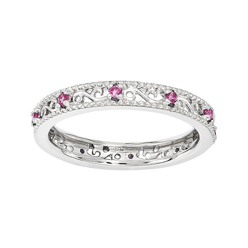 Personally Stackable Lab-Created Pink Sapphire Filigree Eternity Ring