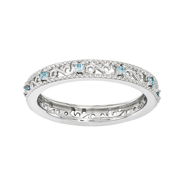 Personally Stackable Genuine Blue Topaz Filigree Eternity Ring