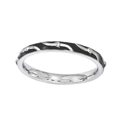 Personally Stackable Black Enamel Striped Sterling Silver Ring