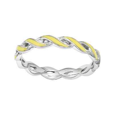Personally Stackable Yellow Enamel Twist Sterling Silver Ring