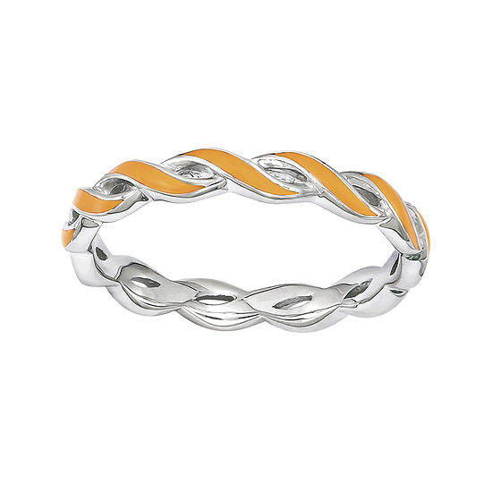 Personally Stackable Orange Enamel Twist Sterling Silver Ring