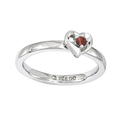 Personally Stackable Genuine Garnet Sterling Silver Heart Ring