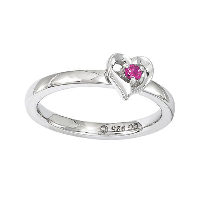 Personally Stackable Lab-Created Ruby Sterling Silver Heart Ring