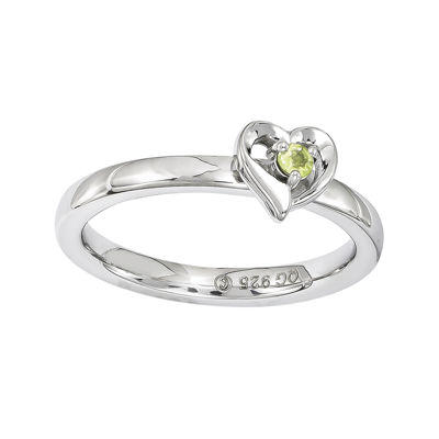 Personally Stackable Genuine Peridot Sterling Silver Heart Ring