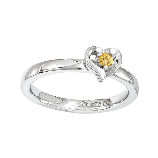 Personally Stackable Genuine Citrine Sterling Silver Heart Ring