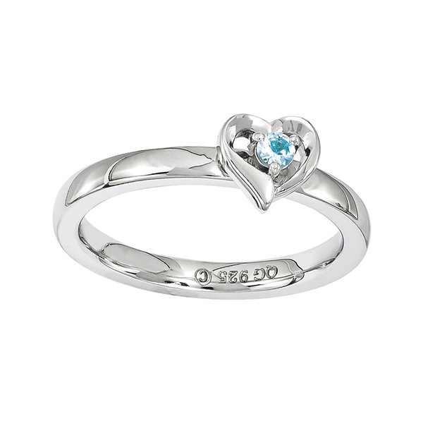 Personally Stackable Genuine Blue Topaz Sterling Silver Heart Ring