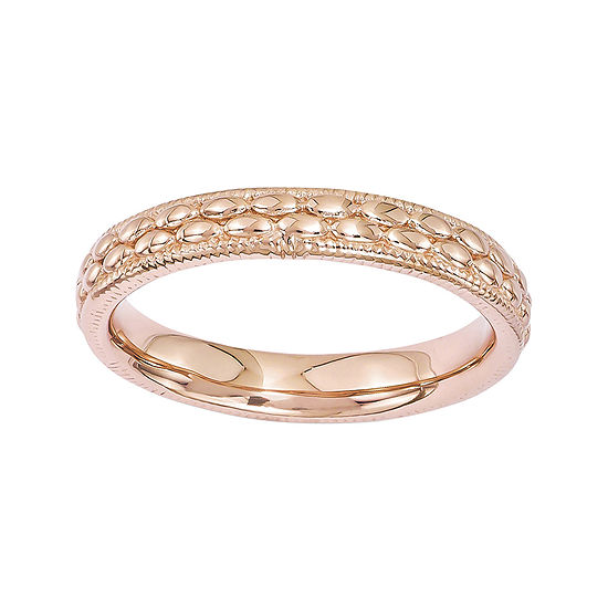 Personally Stackable 18K Rose Gold Over Sterling Silver Patterned Ring