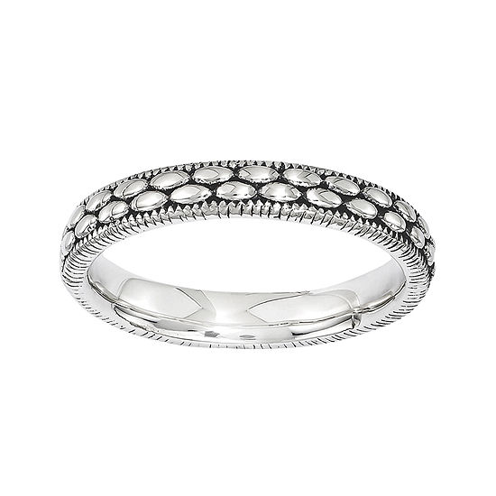 Personally Stackable Antiqued Sterling Silver Patterned Ring