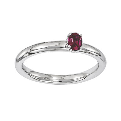 Personally Stackable Lab-Created Ruby Off-Center Ring