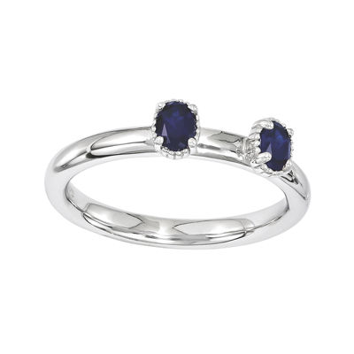 Personally Stackable Lab-Created Sapphire 2-Stone Ring