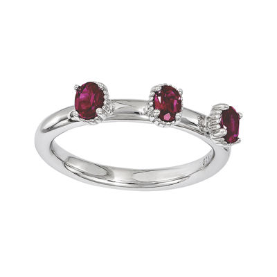 Personally Stackable Lab-Created Ruby 3-Stone Ring