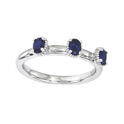 Personally Stackable Lab-Created Sapphire 3-Stone Ring