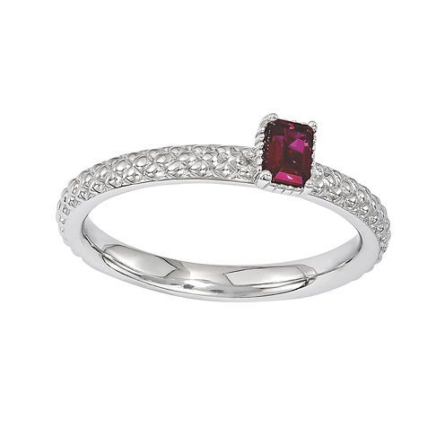 Personally Stackable Lab-Created Ruby Textured Ring