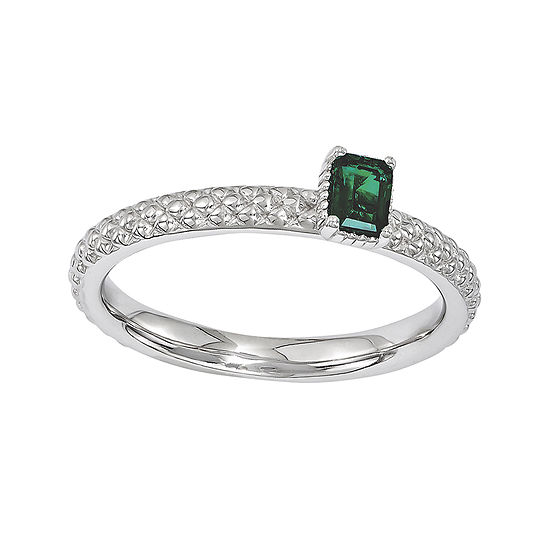 Personally Stackable Lab-Created Emerald Textured Ring