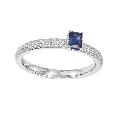 Personally Stackable Lab-Created Sapphire Textured Ring