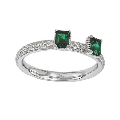Personally Stackable Lab-Created Emerald Textured 2-Stone Ring